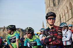 Kasia Niewiadoma (POL) on the start line at Gent Wevelgem - Elite Women 2019, a 136.9 km road race from Ieper to Wevelgem, Belgium on March 31, 2019. Photo by Sean Robinson/velofocus.com
