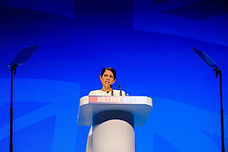© Licensed to London News Pictures. 05/10/2021 Manchester, UK. Priti Patel speaking Conservative Party Conference. Photo credit: Jess Hurd/LNP
