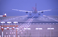 DEU, Germany, Duesseldorf, airplane approach at Duesseldorf International Airport.....DEU, Deutschland, Duesseldorf, Landeanflug auf den Duesseldorf International Airport...