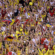 EAST RUTHERFORD, NEW JERSEY - JUNE 17:  Colombia and Peru fans in the packed crowd during the Colombia Vs Peru Quarterfinal match of the Copa America Centenario USA 2016 Tournament at MetLife Stadium on June 17, 2016 in East Rutherford, New Jersey. (Photo by Tim Clayton/Corbis via Getty Images)
