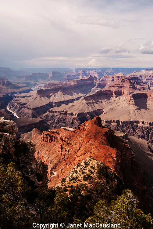 The Vertical photograph shows a rust colored ridge extending from the upper Rim Trail down into the Grand Canyon where the river flows.