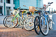 Bikes stacked together at a bike corral in New Orleans, Louisiana.