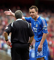 Photo: Ed Godden/Sportsbeat Images.<br /> Arsenal v Chelsea. The Barclays Premiership. 06/05/2007.<br /> Chelsea Captain John Terry has words with Referee A. Wiley after he sends off Khalid Boulahrouz.