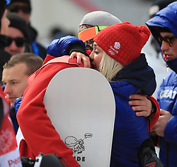 Great Britain's Billy Morgan gets a hug from a tearful Aimee Fuller after he wins bronze in the Men's Snowboarding Big Air Final at the Alpensia Ski Jumping Centre during day fifteen of the PyeongChang 2018 Winter Olympic Games in South Korea.