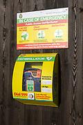 Public Access Defibrillator NHS emergency medical equipment, South Western Ambulance Service, UK