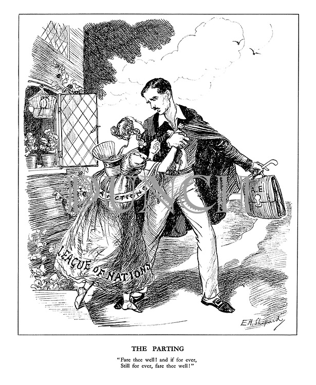 """The Parting. """"Fare thee well! and if for ever, Still for ever, fare thee well!"""" (British Foreign Secretary Anthony Eden, as Lord Byron, leaves his 'wife' the League of Nations draped in a 'Sanctions' sash to attend to important foreign affairs)"""