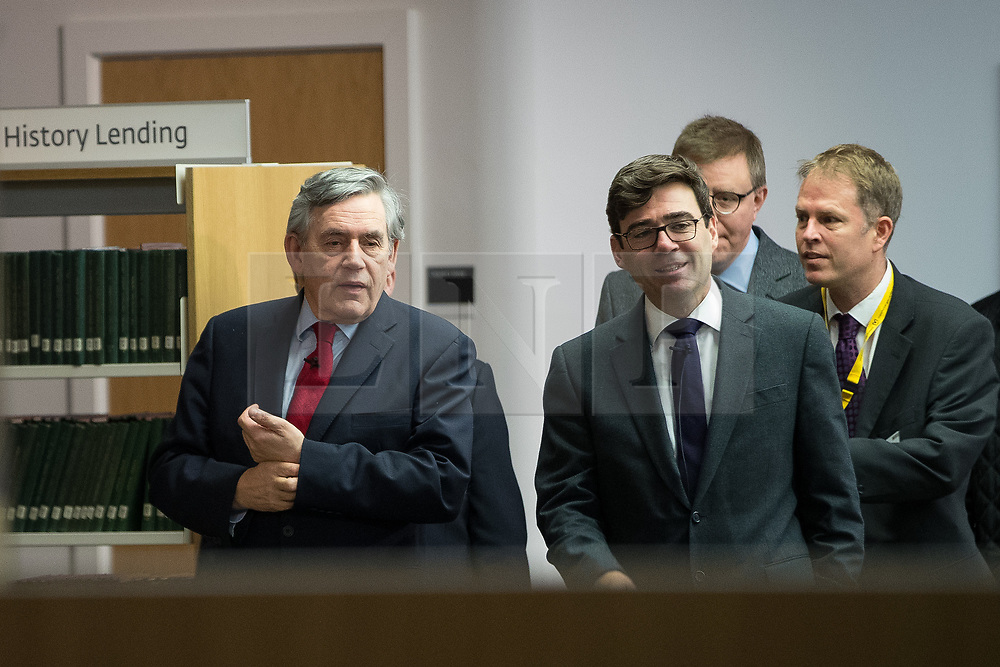 """© Licensed to London News Pictures. 16/11/2017. Manchester, UK. Former British Prime Minister GORDON BROWN (pictured arriving with Mayor of Manchester ANDY BURNHAM) to host a talk about the financial crash and his time in politics, as Chancellor and then Prime Minister, as part of his promotional tour for his book , """" My Life, Our Times """", at the Manchester Central Library . Photo credit: Joel Goodman/LNP"""
