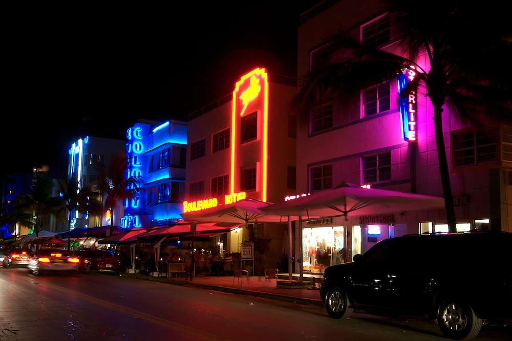 View  of Ocean Drive in Miami Beach. Also view of Colony and Boulevard hotel. Ocean Drive is one the most popular tourist attractions in Miami Beach.