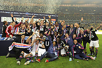 FOOTBALL - FRENCH CUP 2011/2012 - FINAL - OLYMPIQUE LYONNAIS v US QUEVILLY - 28/04/2012 - PHOTO JEAN MARIE HERVIO / REGAMEDIA / DPPI - CELEBRATION LYON WITH THE TROPHY AFTER THE VICTORY