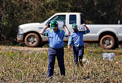 24 February 2016. Schexnaydre St, Convent, Louisiana.<br /> Scenes of devastation following a deadly EF2 tornado touchdown. 2 confirmed dead. <br /> Volunteers from steel giant NUCOR Corporation deliver vital supplies donated to neighborhoods hardest hit by the storm.<br /> Photo©; Charlie Varley/varleypix.com