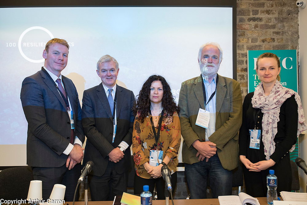 NO FEE PICTURES <br /> 8/4/19 John Coleman, CEO Land Development Agency, Cormac Murphy, CEO European Investment Bank (IRE), Dr Bernie O'Donoghue-Hynes, Research Excutive LGMA, David Joyce, Irish Human Rights and Equality Commission and Teresa BuczkowskaImmigrant Council of Ireland at the Housing for All seminar at CHQ, Dublin, the Dublin Housing Observatory share early insights into Migration, Integration and Housing study, Insights are discussed as part of the Vienna Model of Housing Exhibition Picture:Arthur Carron