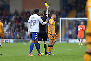 Sebastien Amoros of Port Vale receives a yellow card from referee Ross Joyce. EFL Skybet football league one match, Bury v Port Vale at Gigg Lane in Bury ,Lancs on Saturday 3rd September 2016.<br /> pic by Chris Stading, Andrew Orchard sports photography.