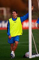 Photo: Glyn Thomas.<br />England Training. 09/11/2005.<br />England's Michael Owen watches his teammates train.