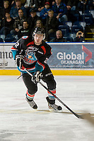 KELOWNA, CANADA, DECEMBER 3: Mackenzie Johnston #22 of the Kelowna Rockets skates with the puck as the Prince George Cougars visit the Kelowna Rockets  on December 3, 2011 at Prospera Place in Kelowna, British Columbia, Canada (Photo by Marissa Baecker/Shoot the Breeze) *** Local Caption ***