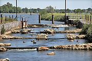 Nederland, Sambeek, 28-5-2020 De sluis en stuw waar schepen worden geschut. Het regelen van het waterpeil in de Maas dmv de stuwen . De kunstmatige vistrap geeft vissen zoals zalm, de gelegenheid hun paaigronden stroomopwaarts te bereiken . Het peil in de rivier wordt vanwege het langdurige droge weer 10 centimeter hoger gehouden als normaal. Hiermee probeert rijkswaterstaat de gevolgen van de droogte voor het grondwater, grondwaterpeil in het stroomgebied wat op te compenseren . De Maas is vanaf Zuid Limburg tot een gekanaliseerde rivier waarvan het waterpeil geregeld wordt via sluizen en stuwen tot aan Lith.. Foto: Flip Franssen