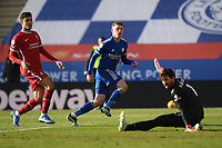 Football - 2020 / 2021 Premier League - Leicester City vs Liverpool - King Power Stadium<br /> <br /> Leicester City's Harvey Barnes scores his side's third goal.<br /> <br /> COLORSPORT/ASHLEY WESTERN