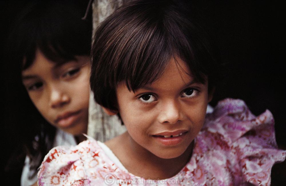 Juan Briceno's daughter at home on the grounds of the Becan, Maya ruins, Yucatan, Mexico.