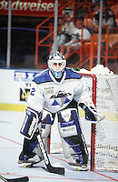 22 August 1996: Blades goalie Sean Gauthier   in action during a Roller Hockey International RHI indoor inline hockey game at the Great Western Forum.  Original image scan from negative, print or  transparency.  Image is available for personal or editorial use only.