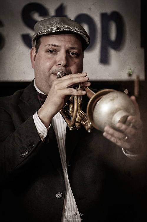 Rob Ford on trumpet with Blackbird Society Orchestra at The Bus Stop Music Cafe in Pitman, NJ. The band plays music of the 20's and 30's.
