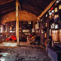A Sherpa house in Namche Bazar in the Khumbu Region of Nepal. 1979