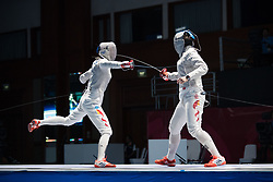 JAKARTA, Aug. 19, 2018  Qian Jiarui (L) of China competes with her teammate Shao Yaqi during Women's Sabre Individual Gold Medal Bout of the 18th Asian Games in Jakarta, Indonesia, Aug. 19, 2018. Qian won 15-9. (Credit Image: © Zhu Wei/Xinhua via ZUMA Wire)