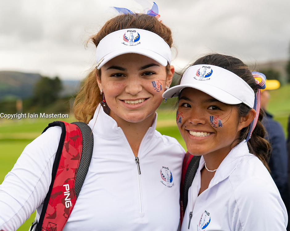 Auchterarder, Scotland, UK. 10 September 2019. Day one of the Junior Solheim Cup 2019 at the Centenary Course at Gleneagles. Tuesday Morning Foursomes. Pictured Briana Chacon (l) and Brianna Navarrosa  of team USA after winning by 1 hole. Iain Masterton/Alamy Live News