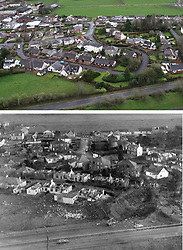Composite now and then pictures off the area of Lockerbie where 30 years ago a PanAm Boeing 747 crashed into the town after a bomb was detonated on board.