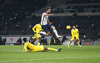 Tottenham Hotspur's Harry Kane is stopped by Fulham's Tosin Adarabioyo<br /> <br /> Photographer Rob Newell/CameraSport<br /> <br /> The Premier League - Tottenham Hotspur v Fulham - Wednesday 13th January 2021 - Tottenham Hotspur Stadium - London <br /> <br /> World Copyright © 2021 CameraSport. All rights reserved. 43 Linden Ave. Countesthorpe. Leicester. England. LE8 5PG - Tel: +44 (0) 116 277 4147 - admin@camerasport.com - www.camerasport.com