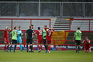 Referee James Oldham shows a second yellow card to Joe Pritchard of Accrington during the EFL Sky Bet League 1 match between Accrington Stanley and AFC Wimbledon at the Fraser Eagle Stadium, Accrington, England on 1 February 2020.