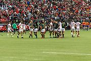 VANCOUVER, BC - MARCH 11: Teams shake hands  after Game # 44- South Africa vs Usa Bronze Medal Match match at the Canada Sevens held March 11, 2018 in BC Place Stadium in Vancouver, BC. (Photo by Allan Hamilton/Icon Sportswire)