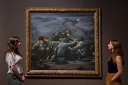 """© Licensed to London News Pictures. 22/10/2018. LONDON, UK. Staff members view """"Perseus and the Graiae"""", 1892, by Edward Burne-Jones.  Preview of the largest Edward Burne-Jones retrospective to be held in a generation at Tate Britain.  Burne-Jones was a pioneer of the symbolist movement and the only Pre-Raphaelite to achieve world-wide recognition in his lifetime.  The exhibition runs 24 October to 24 February 2019.  Photo credit: Stephen Chung/LNP"""