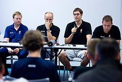 Luka Sefic, Head coach of Slovenia Jure Zdovc, Erazem Lorbek and Matej Avanzo at the press conference  in a Andel's Hotel during Eurobasket 2009, on September 15, 2009 in  Lodz, Poland.  (Photo by Vid Ponikvar / Sportida)