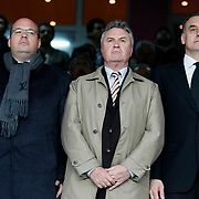 The new head coach of Turkey's national soccer team, Guus HIDDINK (C) during their Turkish superleague soccer derby match Galatasaray between Fenerbahce at the AliSamiYen Stadium at Mecidiyekoy in Istanbul Turkey on Sunday, 28 March 2010. Photo by Aykut AKICI/TURKPIX
