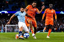 Sergio Aguero of Manchester City shoots at goal - Mandatory by-line: Robbie Stephenson/JMP - 19/09/2018 - FOOTBALL - Etihad Stadium - Manchester, England - Manchester City v Lyon - UEFA Champions League Group F