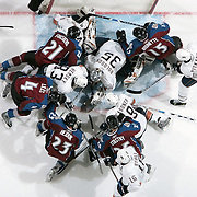 28 March 2008 - The Colorado Avalanche crash the net during the third period to try and score a game tying goal against the Edmonton Oilers at the Pepsi Center in Denver, CO. (Photo by Ric Tapia)