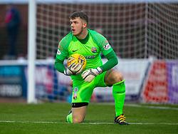 Montrose keeper Jordan Millar. Arbroath 2 v 0 Montrose, Scottish Football League Division One played 10/11/2018 at Arbroath's home ground, Gayfield Park.