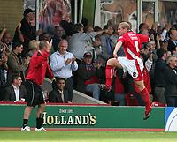 Photo: Andrew Unwin.<br />Accrington Stanley v Wycombe Wanderers. Coca Cola League 2. 30/09/2006.<br />Accrington Stanley's Ian Craney (R) celebrates his goal.