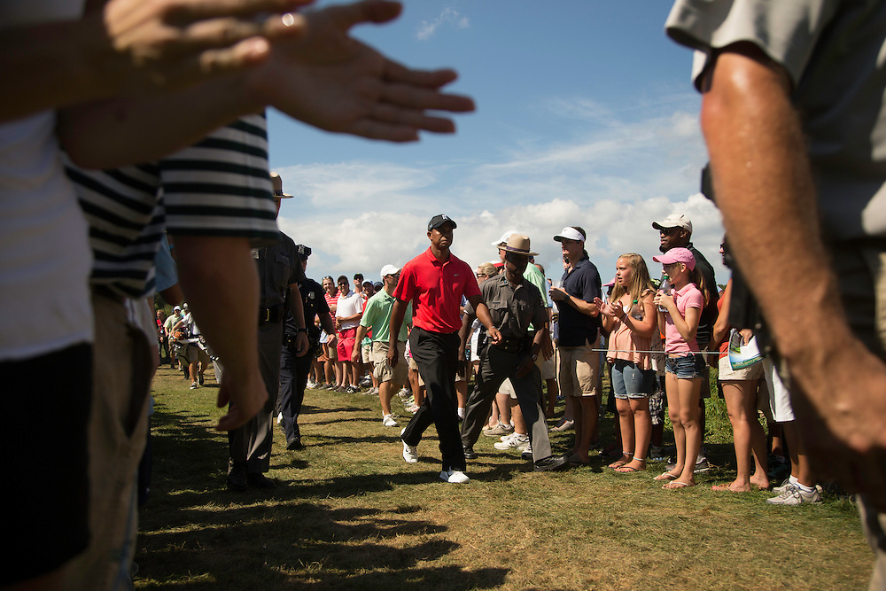 FARMINGDALE, NY - AUGUST 26:  Tiger Woods walks to the 12 tee during the final round of the 2012 Barclays at the Black Course at Bethpage State Park in Farmingale, New York on August 26, 2012. (Photograph ©2012 Darren Carroll) *** Local Caption *** Tiger Woods