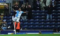 GOAL CELEBRATION - Blackburn Rovers' Joshua King celebrates scoring his sides third goal <br /> <br /> Photographer Kevin Barnes/CameraSport<br /> <br /> Football - The FA Cup Fifth Round - Blackburn Rovers v Stoke City - Saturday 14th February 2015 -  Ewood Park - Blackburn<br /> <br /> © CameraSport - 43 Linden Ave. Countesthorpe. Leicester. England. LE8 5PG - Tel: +44 (0) 116 277 4147 - admin@camerasport.com - www.camerasport.com