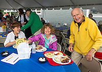 Rowena, Diane and Hank Sredl sit down together for a lunch of knishes, blintzes, pastrami and corned beef sandwiches at the 19th annual Jewish Food Festival at Temple B'nai Isreal on Court Street Sunday morning.   (Karen Bobotas/for the Laconia Daily Sun)