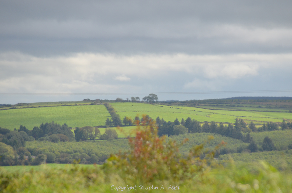 Looking out over rolling farmland in Castleisland, County Kerry, Ireland.