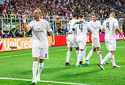 Pepe of Real Madrid and other players celebrate after Sergio Ramos of Real Madrid scored first goal for Real during football match between Real Madrid (ESP) and Atlético de Madrid (ESP) in Final of UEFA Champions League 2016, on May 28, 2016 in San Siro Stadium, Milan, Italy. Photo by Vid Ponikvar / Sportida