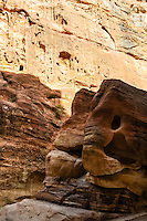 Petra is Jordan's most visited tourist attraction. al-Siq is the main entrance to the ancient city. This stone formation is called the Elephant.