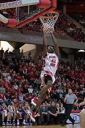 31 December 2008:  Dinma Odiakosa finishes off a quick out.  Illinois State University Redbirds extended their record to 13-0 with an 80-50 win over the Evansville Purple Aces on Doug Collins Court inside Redbird Arena on the campus of Illinois State University in Normal Illinois