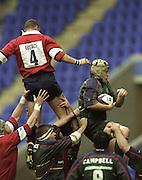 Reading. England. UK. Action from the Premiership Rugby. London Irish vs Gloucester Rugby. 16.04.2001. Madejski Stadium. <br /> <br /> [Mandatory Credit, Peter Spurrier/ Intersport Images].