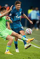 SAINT PETERSBURG, RUSSIA - NOVEMBER 04: Yuri Zhirkov of Zenit St Petersburg during the UEFA Champions League Group F stage match between Zenit St. Petersburg and SS Lazio at Gazprom Arena on November 4, 2020 in Saint Petersburg, Russia. (Photo by MB Media)