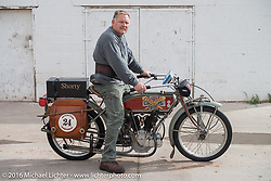 Kelly Modlin of Kansas at the Gap Express gas stop in Cameron, AZ on his 1914 Excelsior during the Motorcycle Cannonball Race of the Century. Stage-12 ride from Page, AZ to Williams, AZ. USA. Thursday September 22, 2016. Photography ©2016 Michael Lichter.
