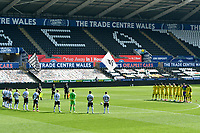 Football - 2020 / 2021 Sky Bet Championship - Swansea City vs Wycombe Wanderers - Liberty Stadium<br /> <br /> The teams stand fin silence since in memory of HRH Prince Philip the Duke of Edinburgh whose funeral is today.<br /> <br /> COLORSPORT/WINSTON BYNORTH