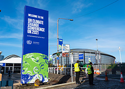 Glasgow, Scotland, UK. 21st October 2021. Final preparations underway at the site of the UN Climate Change Conference COP26 to be held in Glasgow from Oct 31st. Pic; Billboard for COP26 at construction site at entrance to the site. Iain Masterton/Alamy Live News.