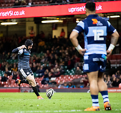 Sam Davies of Ospreys converts<br /> <br /> Photographer Simon King/Replay Images<br /> <br /> Guinness PRO14 Round 21 - Cardiff Blues v Ospreys - Saturday 27th April 2019 - Principality Stadium - Cardiff<br /> <br /> World Copyright © Replay Images . All rights reserved. info@replayimages.co.uk - http://replayimages.co.uk